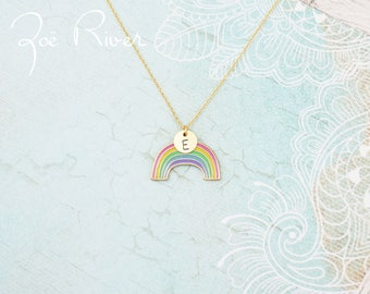 Personalized initial and rainbow necklace. Love is Love. Rainbow necklace. Monogram initial necklace. Gold initial. YES to Marriage equality