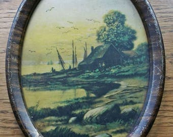 Vintage Metal Framed Seaside Print