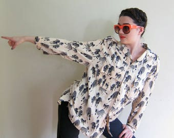 Vintage 1980s Zebra Animal Print Blouse / 80s Button Down Long Sleeved Cotton Print Shirt / Large