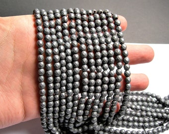 Hematite matte - 6mm faceted round beads -1 full strand - 66 beads - AA quality - Matte - RFG1361