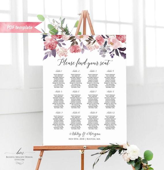 Printable dusty pink floral seating chart board wedding seating il570xn maxwellsz