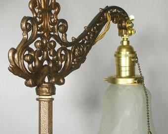 Vintage antique Bridge Floor Lamp rewired slag glass break Dark Copper cloth wrapped cord