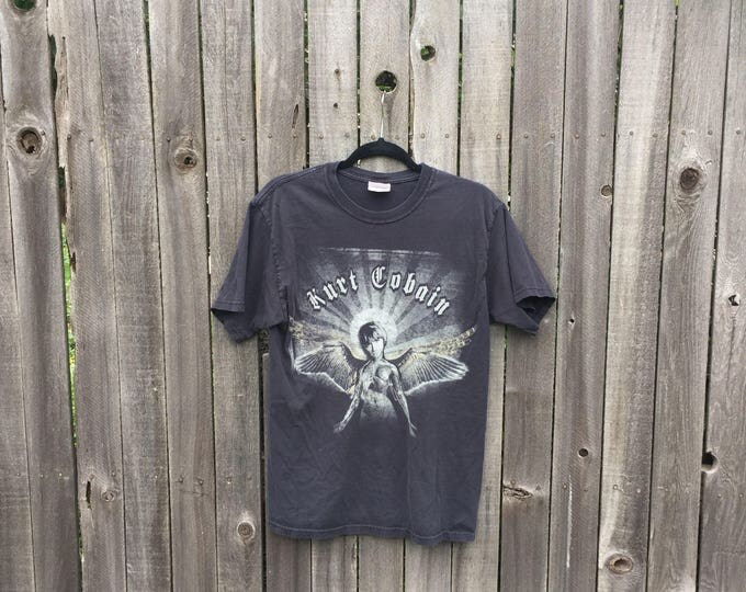 Kurt Cobain Tee | grunge 90s vintage unisex faded black short sleeve tshirt mens womens small S fallen angel NIRVANA old english typography
