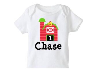 Farm Birthday Shirt  , Personalized Farm  TShirt or Bodysuit, Boys Farm Birthday Shirt, Boys 1st Birthday Shirt, Farm Barnyard Birthday