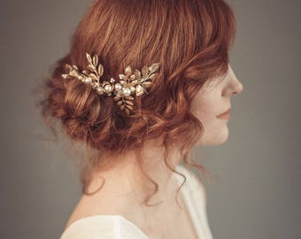 Gold bridal hair comb - Gold wedding headpiece - Bridal headpiece - Wedding hair piece -  Gold leaf headpiece