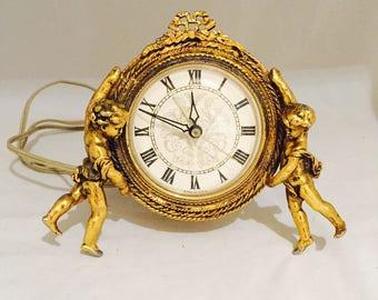 Stylebuilt Cherub Electric Alarm Clock Filigree Clock Vanity Set Clock Hollywood Regency AS IS