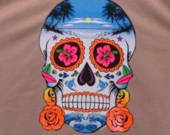 Day of the Dead Skull Womens Short Sleeve T Shirt Neon Skull With Roses 19210