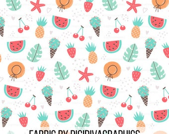 Fruit Summer Fabric By The Yard - Whimsy Pineapple Strawberry Watermelon Ice Cream Print in Yard & Fat Quarter
