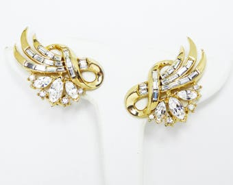 Crown Trifari Rhinestone Earrings - Large Clip on Gold tone Earrings with Baguettes and Marquis Clear Rhinestones - Vintage 1950s 1960s