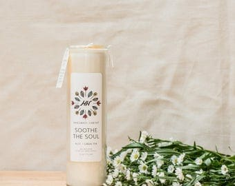 SOOTHE THE SOUL Meditation Candle - Aloe + Green Tea - 16 oz - all natural, eco-friendly 100% soy wax candle