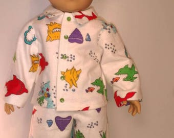 Colorful shark print boy doll pajamas fits 18 inch dolls like American girl or boy