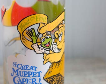 Vintage Great Muppet Caper Drinking Glasss, 1980's 80s Kermit the Frog Fozzie Bear, Mcdonald's Retro Collectibles