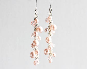 Light Rose Pink Earrings, Pearl Cluster Earrings on Silver Plated Hooks, Long Dangle Earrings, Pink Bridal Jewelry