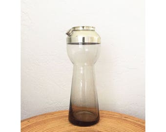Mid Century Gray Glass Cocktail Shaker