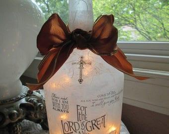 Christian Theme Wine Bottle Lamp, wine bottle light, wine bottle lights, lighted bottles, lighted wine bottles, lamp, lamps, sister gift,