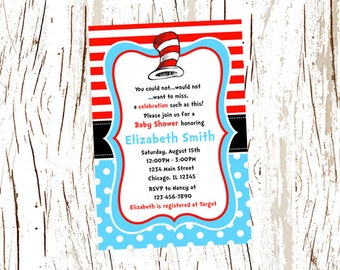 Dr. Seuss Baby Shower Invitation, Dr Seuss, Blue Polka Dots, Red White Sripes, Personalized, Printable and Printed