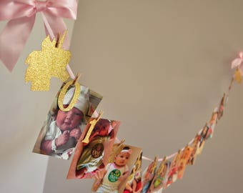 Unicorn First Birthday. 12 Month Photo Banner Girl. Handcrafted in 3-5 Business Days. Pink and Gold First Birthday.