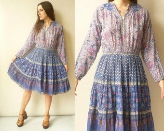 1970's Vintage Woodblock Printed Semi Sheer Indian Cotton Gauze Sheer Dress