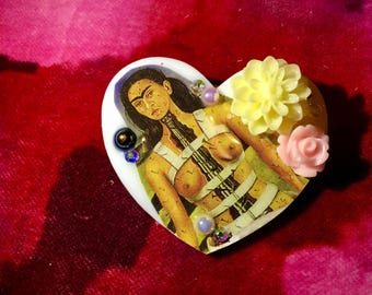 Frida Kahlo White Heart Brooch.