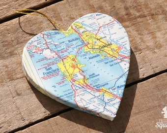 San Francisco, California - Vintage Map Covered Heart Ornament - CA, Home Decor, East Coast, 3 Dimensional, Christmas, Tree, Map Ornament