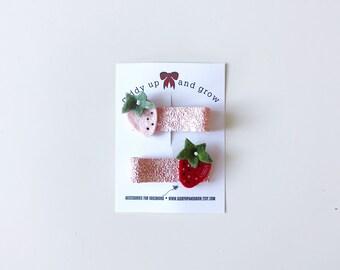 Strawberry Hair Clip Set Glitter Summer Fruit Giddyupandgrow