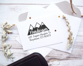 Mountains Return Address Stamp, Custom Personalized Wedding Rubber Stamp