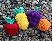 Fruit Fight Reusable Water Ballons pdf PATTERNS (digital download), orange, apple, pineapple, grapes, crochet