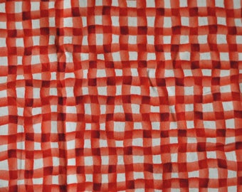 3/4 YARD, Red White Gingham Print, Craft or Quilting Cotton Fabric, Benartex 168, Cherry Jubilee, Mary Lou Weidman, Wavy Plaid, B12