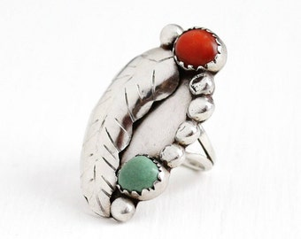 Sale - Vintage Sterling Silver Green Turquoise & Coral Ring - Size 7 1/4 Retro 1960s Native American Tribal Southwestern Stud Leaf Jewelry