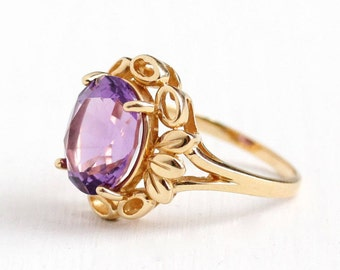 Sale - Estate 14k Yellow Gold Amethyst Ring - Size 7 Flower Floral Petals & Leaf Statement Fine Oval Purple Gemstone Jewelry