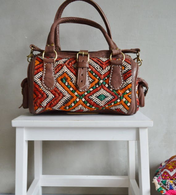 Moroccan Red Orange Kilim Leather Bag ,Satchel Cross Shoulder Straps,  Berber style-bag, tote, handbag, purse, gifts, leather bag