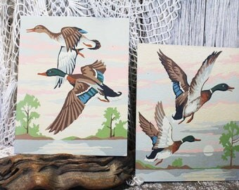 2 Vintage Paint By Number Duck paintings, PBN