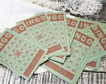 10 Green Bingo Cards, Vintage Bingo Card, Game Cards, Craft Supply