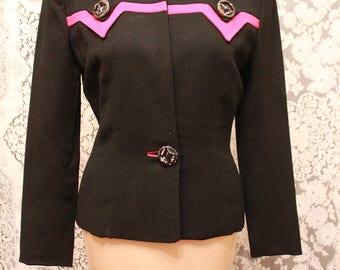Stunning 1940s Black Wool Fred A. Block Suit Jacket with Fushia Trim