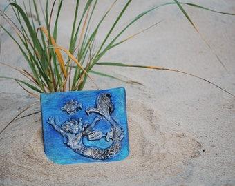 Mermaid Wall Plaque Stone Sculpture, Handmade Art Mermaid, Summer Outdoors  Beach Art, Ocean