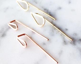 Minimalist Earrings, Reversible Earrings, Simple Silver Earrings, Long Gold Earrings, 14K Yellow Gold, 14K Rose Gold, Teardrop Earrings