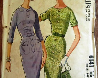 Vintage 1960s Misses Slim Dress with Four-piece Bodice and Four-gore Skirt, Two Sleeve Lengths Size 14 McCalls Pattern 6141 UNCUT
