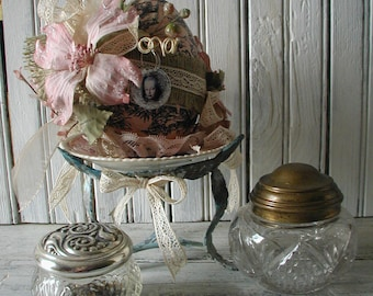 French Decor Marie Antoinette Paper Mache Egg Covered in Pink & Black Toile Paper Brass Stand Vintage China Dish Burlap Silk Ribbon Lace