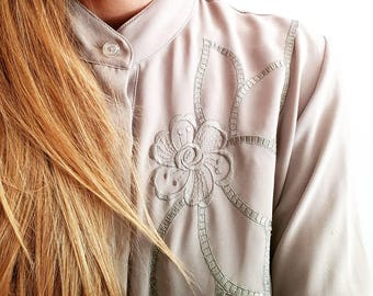 Pistachio Green Embroidered Blouse - 1970