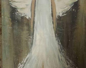 Angel Art wings abstract painterly Painting weathered wood 12 x 24 inches