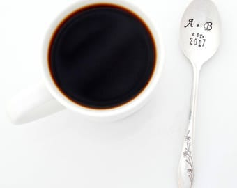 Hand Stamped Spoon with Initials and date or year.  Personalized with INITIALS.  The ORIGINAL Hand Stamped Vintage Coffee Spoons™ Plus Sign