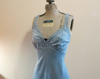 Slip dress 1950s vintage lace pinup lingerie Pantone color shaded spruce blue green 36 M