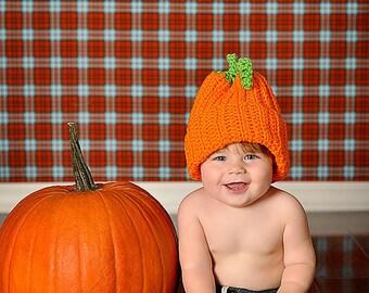 Pumpkin Hat,Fall Pumpkin Hat,Pumpkin Photo Prop, Thanksgiving Hat, Crochet Pumpkin Hat, Baby Pumpkin Hat, CbbCreations, Fall Photo Prop