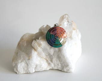 Inlaid Rainbow Disc Pendant
