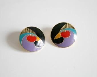 Laurel Burch Harlequin Bird Earrings