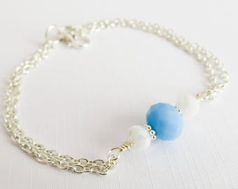 Blue Bridesmaid Bracelets, Blue With White Bracelet, Simple Bracelet, Flower Girl Jewelry, Bridal Party Gift