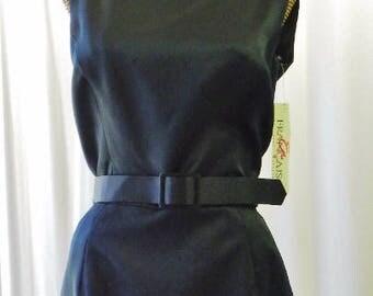 Walters Vintage Black Satin Formal Pencil Dress Unworn
