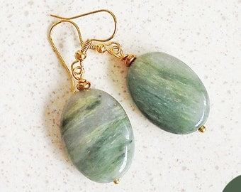 Hook Earrings  Green Oval Rutilated Quartz Gemstones Lovely Striations 18K Gold Over Surgical Steel Ear Wires or 14K Gold-Filled Ear Wires