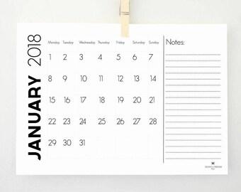 Notes Printable Calendar for 2018, Monthly Calendar, Task List, Monthly Planner, Wall Calendar, 2018 Planner, Digital Calendar, Notepad, PDF