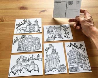 Asheville Landmark 6 Postcard Series, North Carolina Souvenir, Architecture Gift Idea, Hand Drawn Postcards, Line Drawing Illustrations